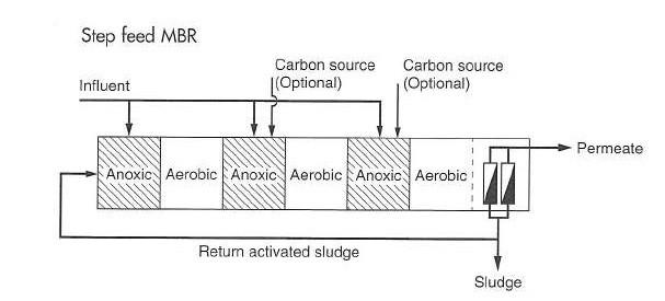 شکل 2. شماتیکی از یک فرآیند MBR با تغذیه چند مرحلهای