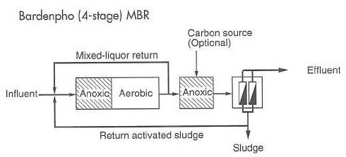 شکل 3. شماتیکی از فرآیند 4 مرحله ای Bardenpho مجهز به بیوراکتور غشایی (MBR)